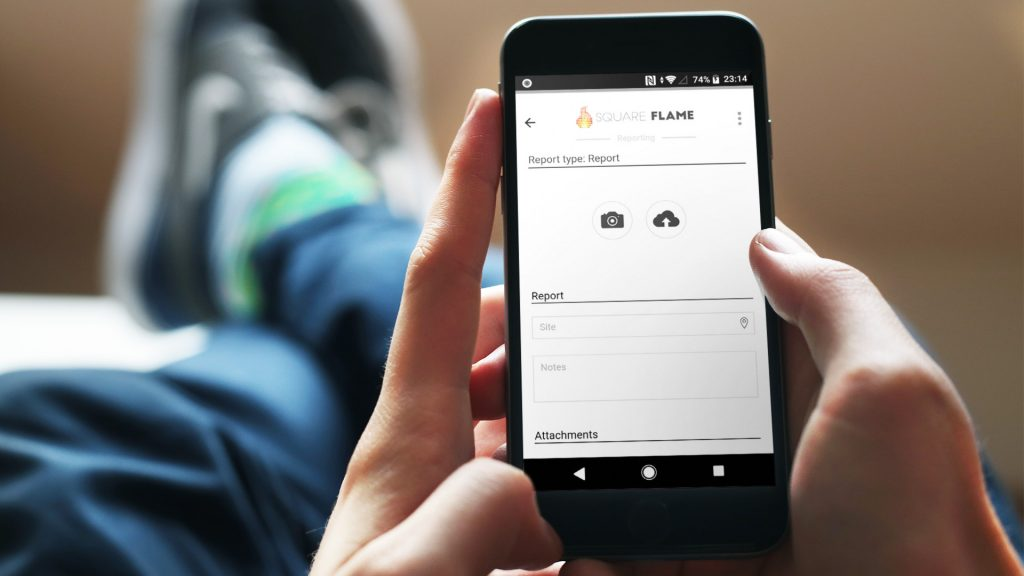 Person Using the Square Flame Service App on Android